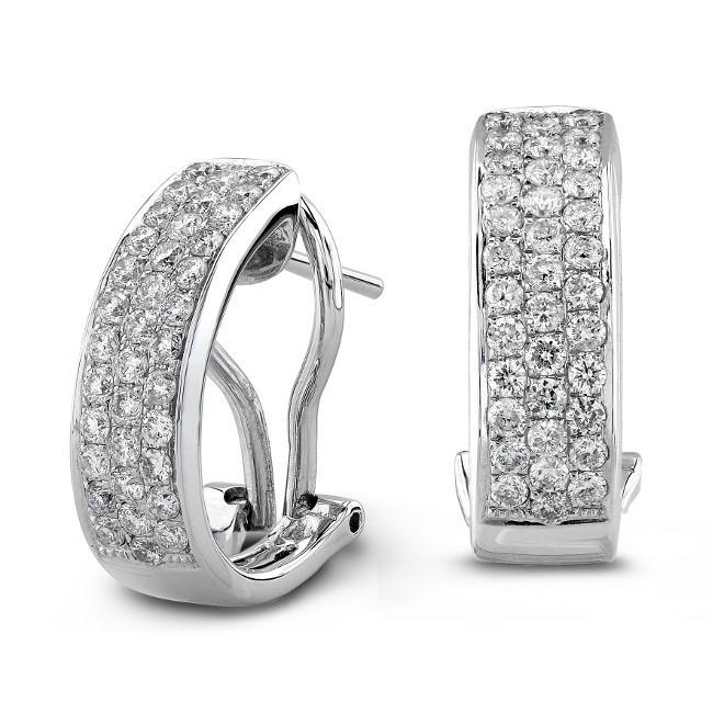 14K White Gold 1.00 CtTW Pave Diamond Earrings