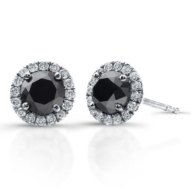 14K White Gold 1.20CtTW Black & White Diamond Earrings