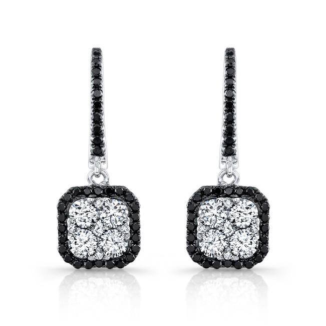 18K White Gold 1.50CtTW Black & White Diamond Earrings