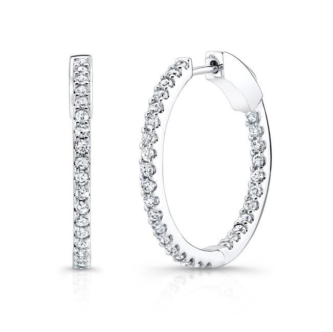 14K White Gold 1.50CtTW Diamond Hoop Earrings