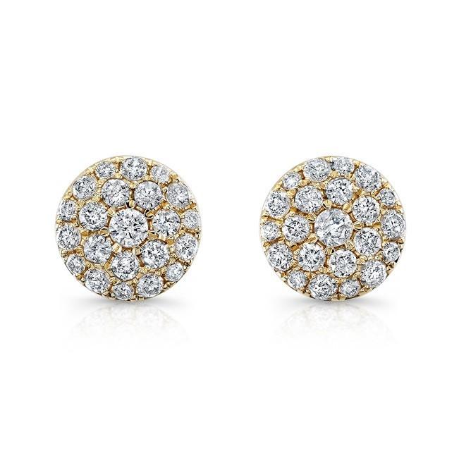 14K Yellow Gold 0.50CtTW Diamond Cluster Earrings