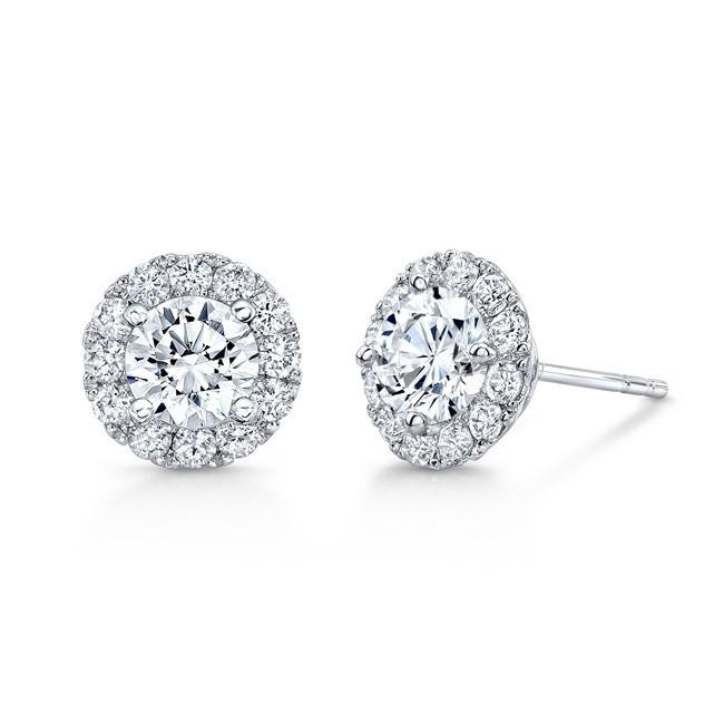 14K White Gold  1.50CtTW Diamond Halo Stud Earrings