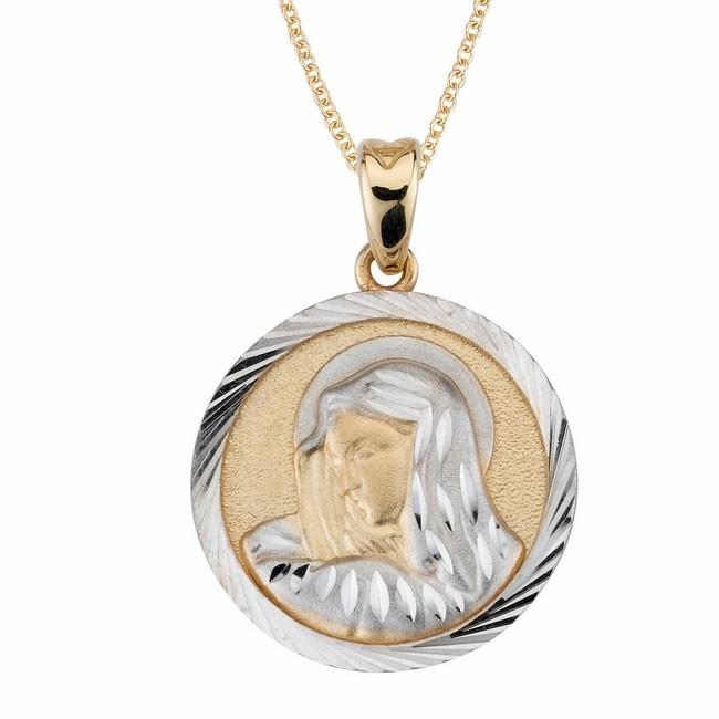 14K 2-Tone Blessed Mother Medal
