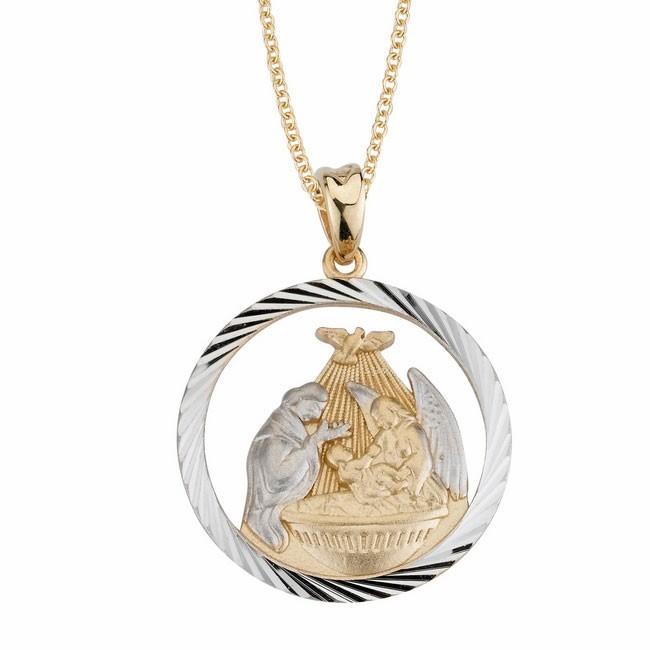14K Holy Family Christening Medal