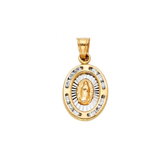 14K 2-Tone Gold Blessed Mother Medal