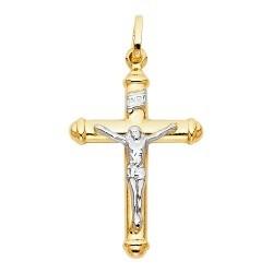 14K 2-Tone Gold Cross