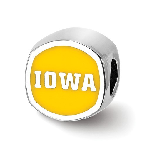University of Iowa - Sterling Silver Enamel Bead