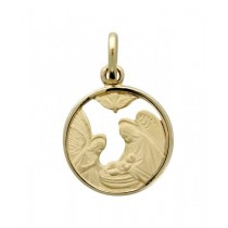 14K Yellow Gold Holy Family Baptismal Medal