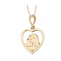 14K Yellow Gold Blessed Mother Heart Medal