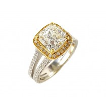 18K 2-Tone 3.19CTW Diamond Ring