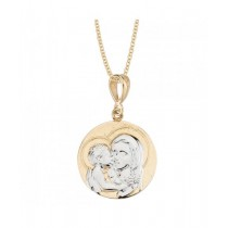 14K 2-Tone Blessed Mother with Child Medal