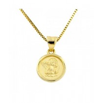 14K Yellow Gold Angel Medal