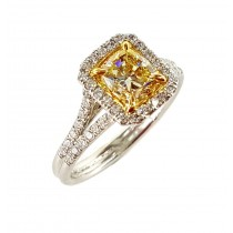 Platinum & 18KY Gold Fancy Yellow 1.96CtTW Diamond Ring