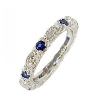 Platinum Diamond & Sapphire Eternity Band