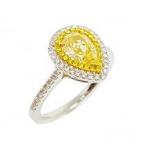 18K Gold 1.48CtTW Fancy Yellow Diamond Ring