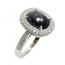 14KW Gold 4.21 CtTW Black & White Diamond Ring