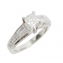 14K White Gold 1.38CtTW Diamond Ring