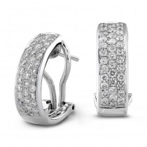 14K White Gold 1.00 CtTW Pave Diamond Earrings