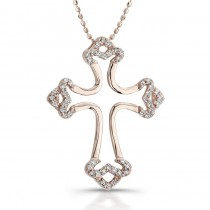 14K Rose Gold 0.25CtTW Diamond Cross