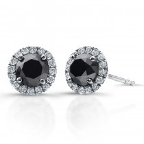 14K White Gold 1.20CtTW Black & White Diamond Earrings