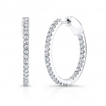14K White Gold 1.50CtTW Diamond Hoop Earrings