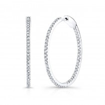 14K White Gold 1.00CtTW Diamond Hoop Earrings