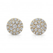 14K Yellow Gold 0.50CtTW Diamond Cluster Earrings