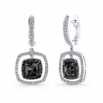 14K White Gold 3.25CtTW Black & White Diamond Earrings