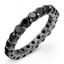 14K Black Rhodium 1.87Ct Black Diamond Eternity Ring