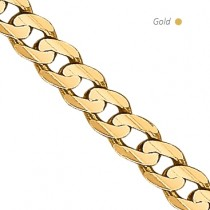 14K Yellow Gold Concave Open Curb Chain