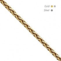 14K Diamond Cut Round Wheat Chain