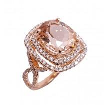 14K Rose Gold 5.32Ct Morganite & Diamond Ring