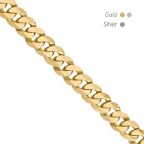 14K Yellow Gold Flat Beveled Curb Chain