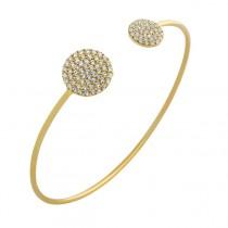 Italian 925 Silver Double Circle Cuff Bracelet (Yellow)