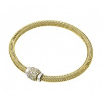Italian 925 Silver Weaved Bracelet with CZ Clasp (Yellow)