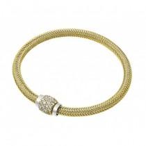 Italian 925 Silver Weaved Bracelet with CZ Clasp (Yellow)
