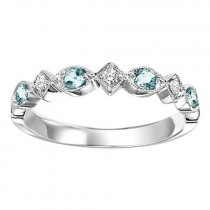 14K White Gold Diamond & Aquamarine Stackable Ring
