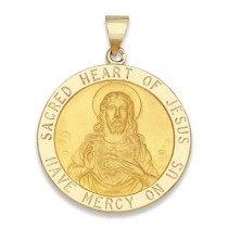 14K Yellow Gold Sacred Heart of Jesus Medal
