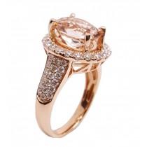 14K Rose Gold 3.50Ct Morganite & Diamond Ring