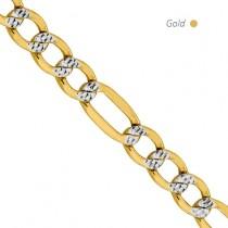 14K 2-Tone Gold Pave Figaro Chain