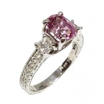 14K White Gold Diamond and Pink Spinel Ring