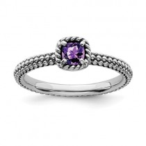 Stackable Cushion Cut Amethyst Ring