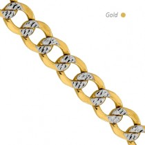 14K 2-Tone Gold Pave Curb Chain