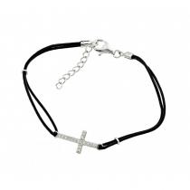 925 Sterling Silver Cross Bracelet /Leather