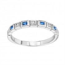14K White Gold Diamond & Sapphire Stackable Ring
