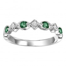 14K White Gold Diamond & Emerald Stackable Ring