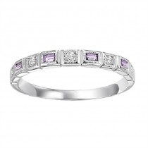 14K White Gold Diamond & Amethyst Stackable Ring
