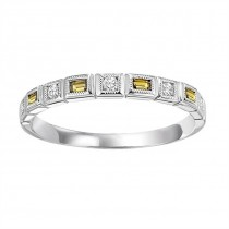 14K White Gold Diamond & Citrine Stackable Ring