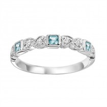 14K White Gold Diamond & Blue Topaz Stackable Ring