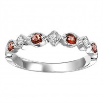 14K White Gold Diamond & Garnet Stackable Ring